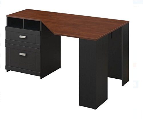 Brand New Bush Furniture Wheaton Reversible Corner Desk Computer Desk, Cherry & Black Wood Bush Computer Desks