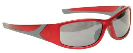 Smoked Grey Lens - Extreme Wrap Around Sunglasses in Red Nylon Frame with Soft Rubber Nose Pads/smoked Grey Lenses