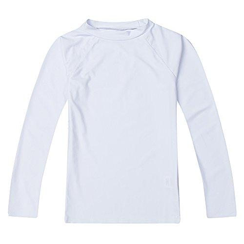 Boys' Long Sleeve Rashguard Swimwear Rash Guard Athletic Tops Swim Shirt UPF 50+ Sun Protection, White 10 ()