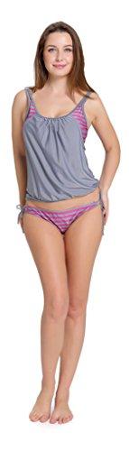 Aibrou Lined Up Casual Stripes Sporty Swimwear Push Up Tankini Double Up Tankini Top Bikini Swimsuit Set Gris