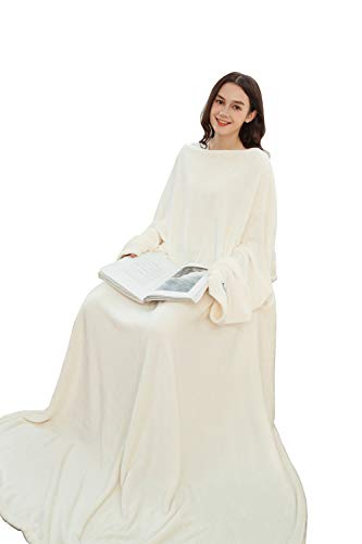 Winthome Super Soft Fleece Blanket with Sleeves, Throw TV Blanket Warm, Cozy, Functional, Lightweight All Season for Couch or Bed (Cream)