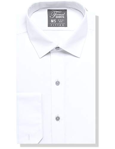 Luxe Microfiber Men's Fitted Spread Collar Dress Shirt - Style Jesse White