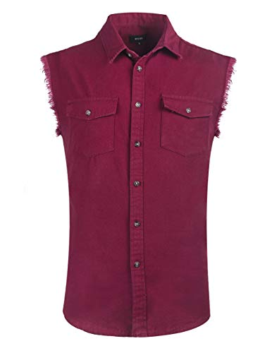 NUTEXROL Mens Sleeveless Denim/Cotton Shirt Biker Vest 2 Front Pockets Burgundy XL