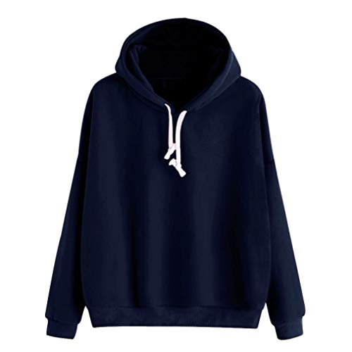Women's Hoodie Pullover Autumn Long Sleeve Solid Sweatshirt Tops Blouse Shirt (M, Navy)