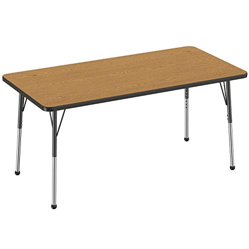 FDP Rectangle Activity School and Office Table (30 x 60 inch), Standard Legs with Ball Glides, Adjustable Height 19-30 inches - Oak Top and Black Edge
