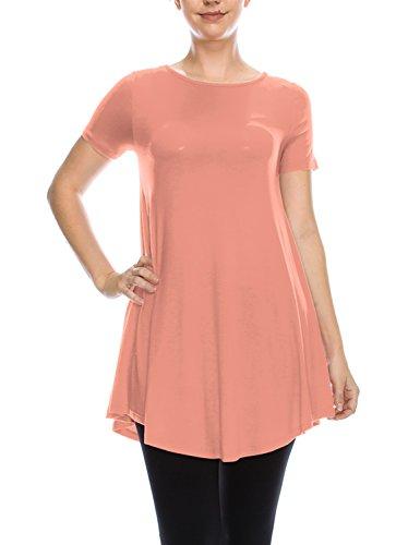 LYCA Women's Short Sleeve Round Neck Flare Tunic - Peach Tunic Top