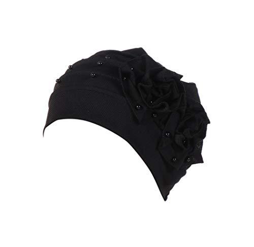 Dressin_Hat Women Bowknot Muslim Ruffle Chemo Hat Beanie Bea