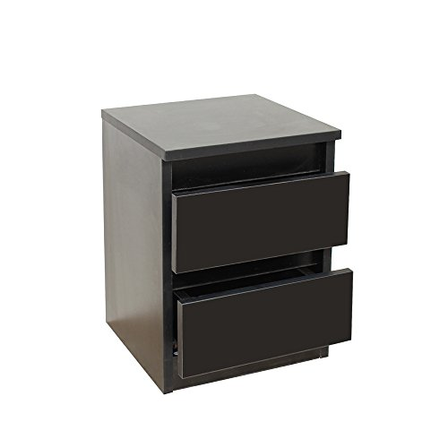 Stream Bedside Table, Bedside Drawers,Bedroom Drawers,Two Drawers Bedroom Furniture, Modern Minimalist Style (Black)