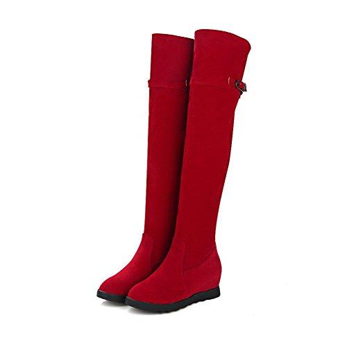 AllhqFashion Mujeres Tachonado Cuña Puntera Redonda Sin cordones Botas con Hebilla Rojo
