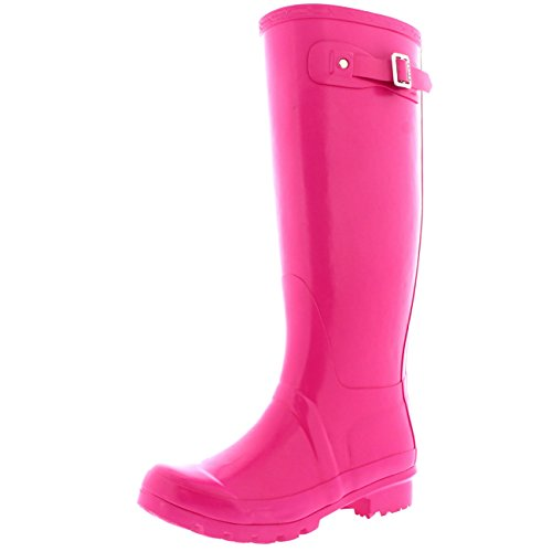 Womens Original Tall Gloss Winter Waterproof Wellie Rain Wellington Boot - Pink - 7-38 - CD0011
