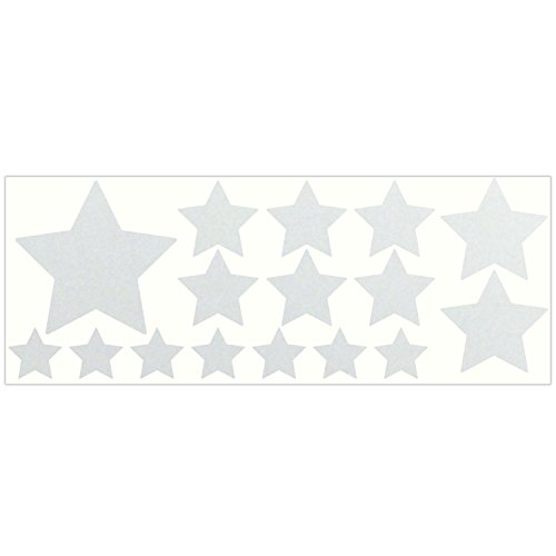 LiteMark Reflective White Assorted Stars Sticker Decals for Helmets, Bicycles, Strollers, Wheelchairs and More - Pack of 16 ()