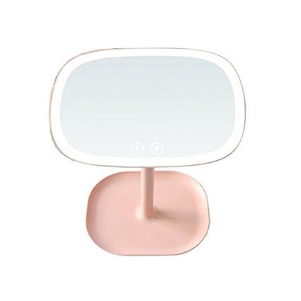 TOOGOO El espejo de maquillaje LED 3 en 1 Lampara de mesa y joyeria, Organizador de cosmeticos - LED espejo de maquillaje de Control tactil y lampara de mesa con luz LED de 37 y 10, Blanco 45527A1