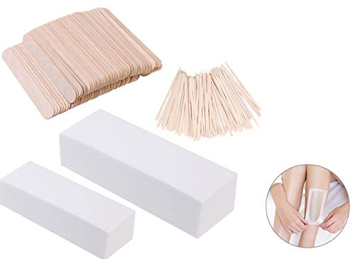 Premium 800-Pcs Wax Strips & Sticks Kit | 400 x Non-Woven Waxing Strips & 400 x Smooth Wooden Hair Removal Applicator Sticks Spatulas | Perfect For Face & Body Skin ()
