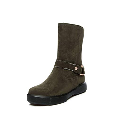 JOYBI Women Fur Lined Snow Boots Comfortable Fashion Slip On Round Toe Winter Faux Suede Mid Calf Boots