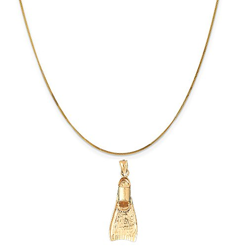 14k Yellow Gold 3-D Scuba Finn Pendant on a 14K Yellow Gold Curb Chain Necklace, 16'' by Eaton Creek Collection