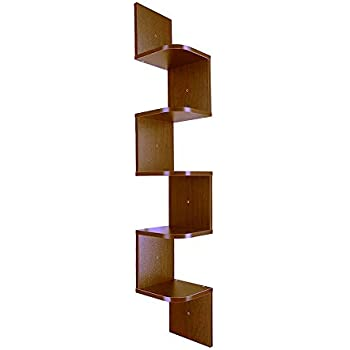 3D Wall Mounted ZigZag Shelf  5 Tiers MDF Laminate Floating Corner Shelves