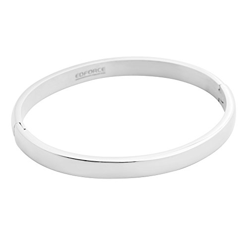 - Edforce Stainless Steel Women's 18k Gold Plated Stackable Bangle Bracelet Hinged Oval-Shape Slip-On, (58mm x 49mm)