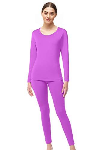 Womens Super Comfy Fleece Lined Thermal Underwear Long Johns Set AZ 2000 Purple S