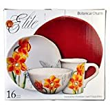 Gibson Botanical Charm Dinnerware – 16 pc – Red For Sale