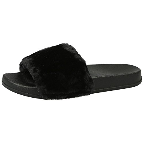 ByPublicDemand Romy Womens Slip On Fur Trim Flat Peep T Black 6 UK/39 EU OT1Fc08VNC