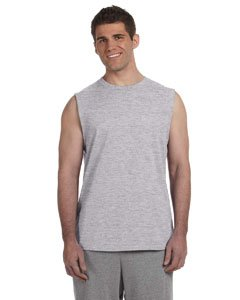 (Gildan Ultra Cotton -90/10 Cotton/Poly Sleeveless T-Shirt 2XL Sport Grey 2700)