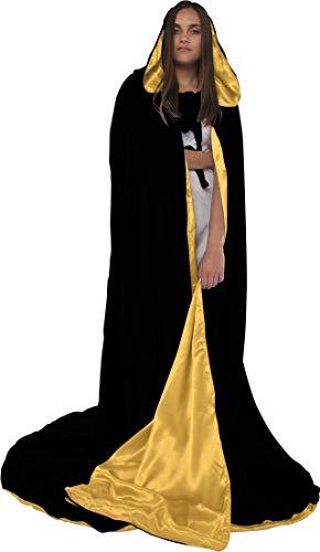 Artemisia Designs Velvet Hooded Renaissance Cloak Medieval Cape Lined with Satin Men and Women Black, Gold ()