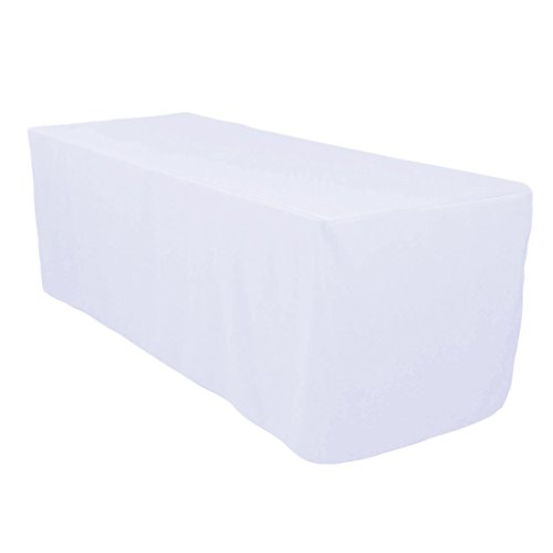 Polyester Rectangular Table - Surmente Tablecloth 6 ft Rectangular Polyester Tablecloth Tablecloths for Rectangle Tables for Weddings, Banquets, or Restaurants (White) ...