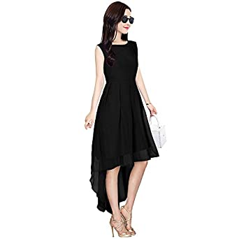 e11b2e583bc Women s Sleeveless Jeans Off Knee Length One Piece Georgette Prestige  Material High Low Black top Dresses