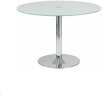 designement Ricky - Mesa Redonda de Cristal Blanco 110 x 110 x 75 ...