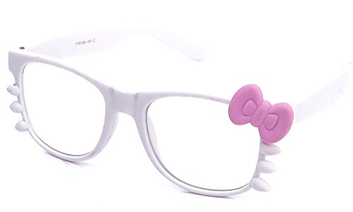 Kyra Women's High Fashion Hello Kitty Bow Two Tone Rubber Clear Lens Glasses 20% OFF 4 Pairs or - Kitty Glasses Hello Bow