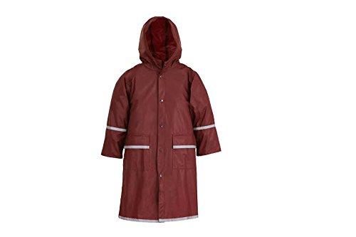 Fabugears Boys/Girls Kids/Juniors Rain Coat Whit Reflector, Full Length Long Hooded S (5-6) Maroon