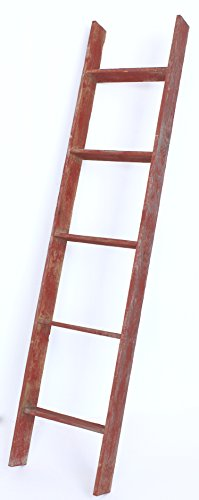 BarnwoodUSA Reclaimed Wood Bookcase Ladder (5 Foot, Red)