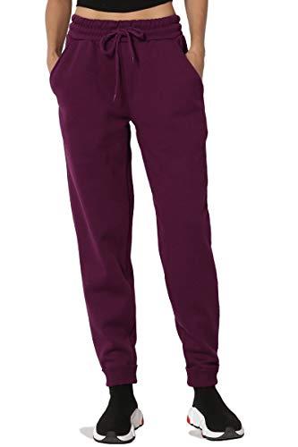 TheMogan Women's Active Lounge Drawstring Pocket Jogger Sweat Pants Dark Plum M/L