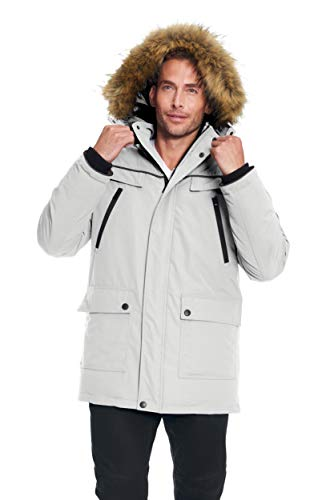- Alpine North Men's Vegan Down Winter Parka with Removable Faux Fur (Small, Cement)