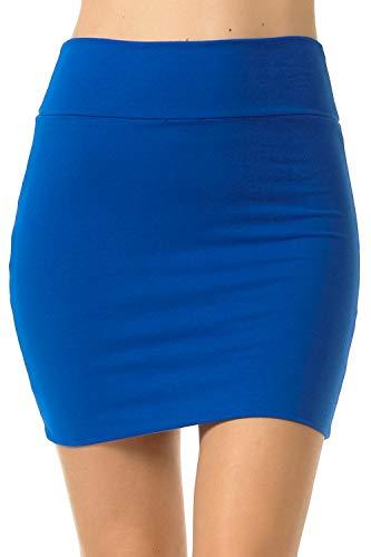 Fashion Aktiv Basic Double-Layer Cotton Simple Stretchy Tube Pencil Mini Skirt (Small, Royal Blue)