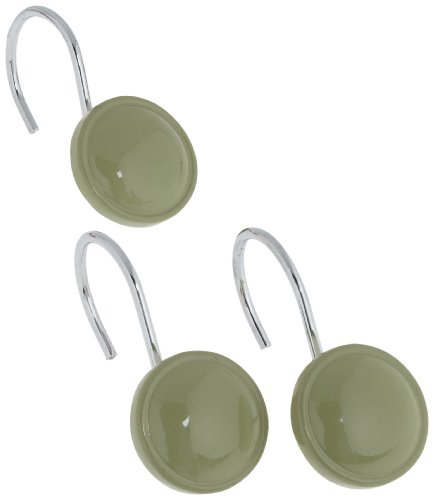 Carnation Home Fashions Color Rounds Ceramic Resin Shower Curtain Hook, Sage (Resin Hooks)