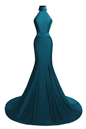 Neck Sweep (Sensfun High Neck Mermaid Evening Dresses Sleeves Sweep Train Prom Dress Dark Green 16W)