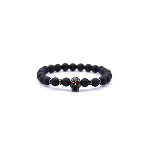 VBTY Beaded Stretch Bracelet, Stone Beads,Natural Stone Beads Men Micro Pave Bracelets for Women Handmade Punk Yogi Elastic Bracelet Jewelry Pulseira Hombres BA-014H Size L 19-20cm ()