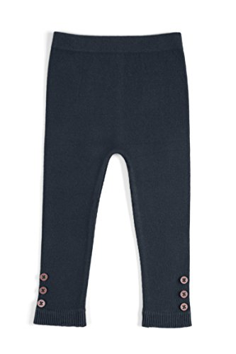 EMEM Apparel Unisex Boys Girls Baby Infant Medium Weight Seamless Cotton Full Ankle Length Leggings with Buttons Navy 12-18 Months