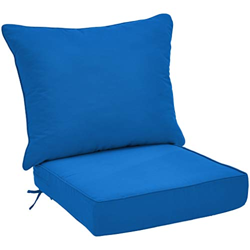 AmazonBasics Deep Seat Patio Seat and Back Cushion- Blue (Seating Furniture Deep Patio Cushions)