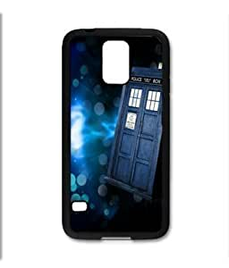 Samsung Galaxy S5 SV Black Rubber Silicone Case - Tardis Call Box Dr. Who Phone Booth