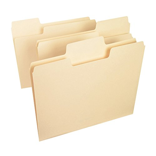 Smead SuperTab File Folder, Oversized 1/3-Cut Tab, Letter Size, Manila, 100 Per Box (10301)