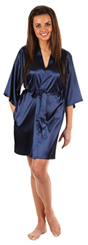 VEAMI Women's Kimono Robe-Galaxy Blue-Small, Short