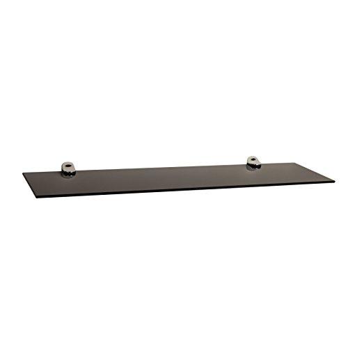 Danya B Black Smoke Glass Floating Shelf with Chrome Brackets - Floating Black Glass