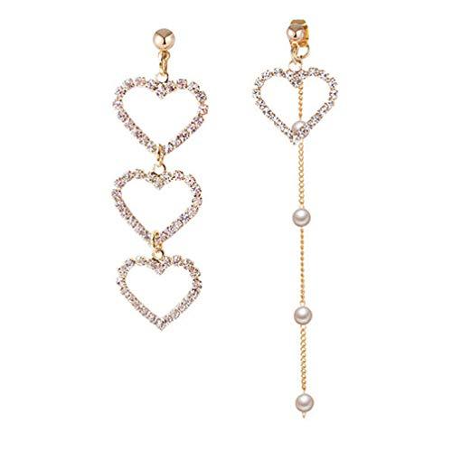 (DONGMING Faux Pearl Tassel Earrings Asymmetrical Crystal Love Heart Drop Earrings for Women Fashion Rhinestone Dangle Stud Earrings Jewelry,Gold)