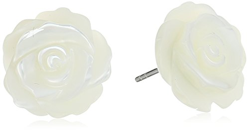 - Sterling Silver Genuine Mother of Pearl Rose Stud Earrings