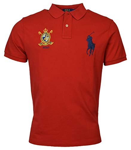 (Polo Ralph Lauren Mens Custom Slim Fit Big Pony Crest Polo Shirt (Small, Bright Red))