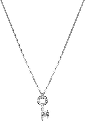 Roberto Coin Women's Tiny Treasures 18K Diamond Baby Key Necklace White Gold One Size (/ Diamond Roberto Coin 18k Necklace)
