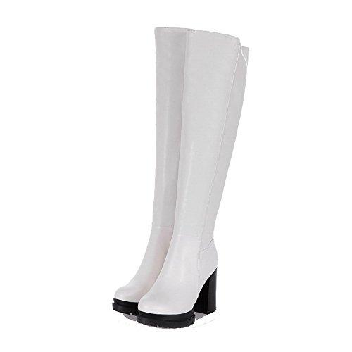 Allhqfashion Mujeres Soft Leather Round Cerrado Dedo Del Pie Sólido High-top Tacones Altos Botas Blancas