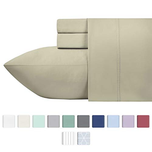 California Design Den 600 Thread Count Best Bed Sheets 100% Cotton Sheets Set - Long-Staple Cotton Sheet for Bed 3 Piece Set with Deep Pocket (Taupe, Twin XL 600TC)